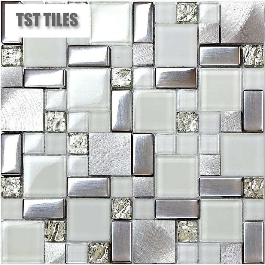 Mosaics Silver Tile Kitchen Backsplash Tiles Metal Glass Bathroom Mirror New Pattern Shower Walls Stickers Mesh 12 12 Tile Sheet Marcelbcalculator